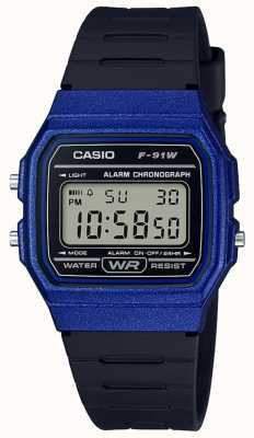 Casio Alarm Chronograph Blue & Black Case F-91WM-2AEF