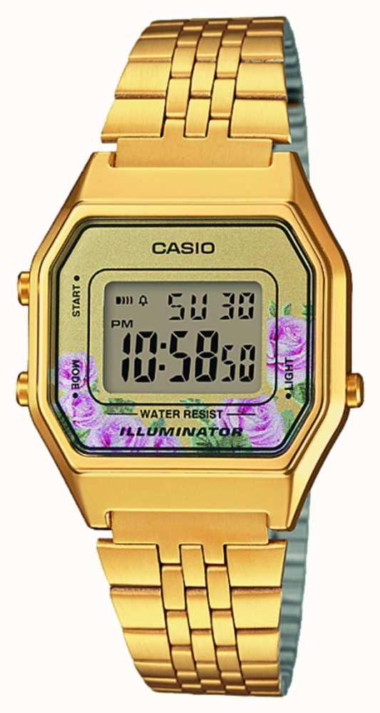 Casio Illuminator Gold PVD Plated Floral Print Dial LA680WEGA-4CEF ... 210b78ec45af