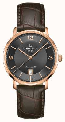 Certina DS Caimano Powermatic 80 Brown Leather Strap Grey Dial C0354073608700