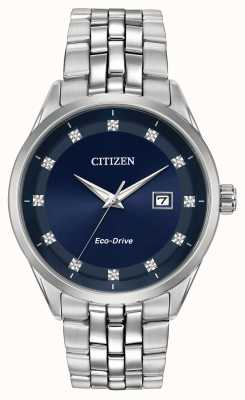 Citizen Corso Men's Diamond Set Blue Dial Stainless Steel Bracelet BM7251-53M