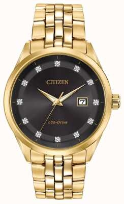 Citizen Corso Men's Diamond Set Black Dial yellow gold pvd bracelet BM7252-51G
