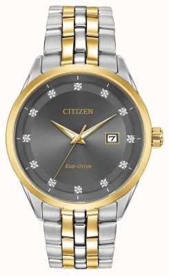 Citizen Corso Men's Diamond Set grey Dial two tone bracelet BM7258-54H