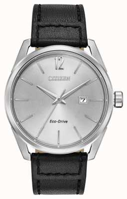 Citizen Men's Silver Dial Date Display Black Leather Strap BM7410-01A