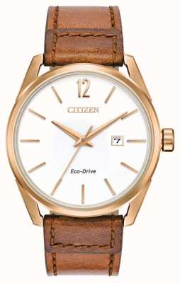 Citizen Men's White Dial Date Display Rose Gold Tan Leather Strap BM7413-02A