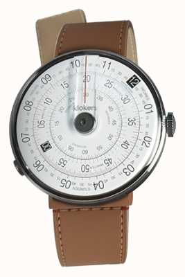 Klokers KLOK 01 Black Watch Head Caramel Brown Strait Single Strap KLOK-01-D2+KLINK-04-LC12