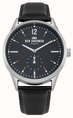 Ben Sherman Matte Navy Blue Dial And Black Leather Strap WB015UB