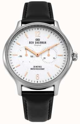 Ben Sherman Matte White Dial And Black Leather Strap WB017B