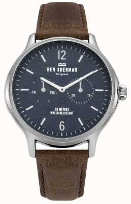 Ben Sherman Matte Navy Dial And Brown Leather Bracelet WB017UBR