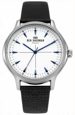Ben Sherman Matte White Dial And Black Leather Strap WB018S