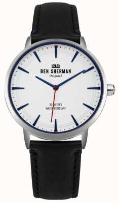 Ben Sherman Matte White Dial And Black Leather Strap WB020B