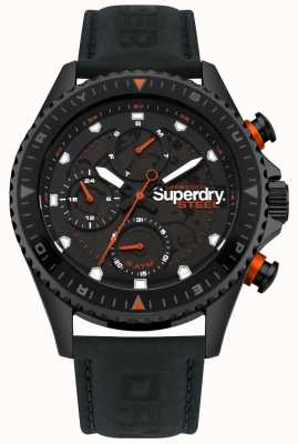 Superdry Steel Officer day & date sub dials Black leather Strap SYG220BB