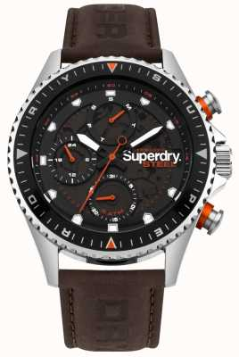 Superdry Steel Officer day & date sub dials Brown leather Strap SYG220BR