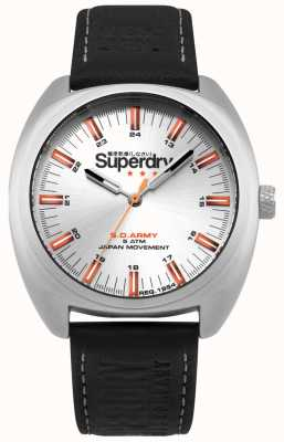 Superdry Scount Infantry Stainless Steel Case Black Leather Strap SYG228B