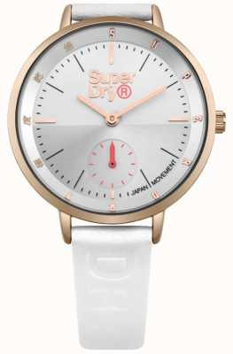 Superdry Ladies Ascot Seconds Sub Dial White Leather Strap SYL159WRG