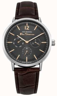 Ben Sherman Stainless Steel Case Day & Date Display Brown Leather Strap BS011EBR