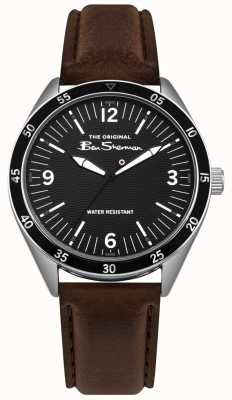 Ben Sherman Black Dial Silver Stainless Steel Case Brown Leather Strap BS007BBR