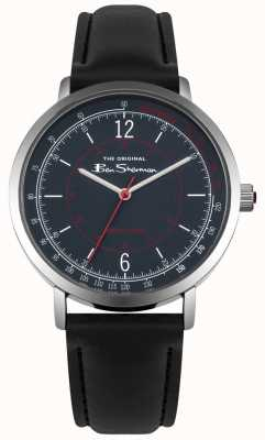 Ben Sherman Blue Dial Tachymeter Black Leather Strap BS006UB