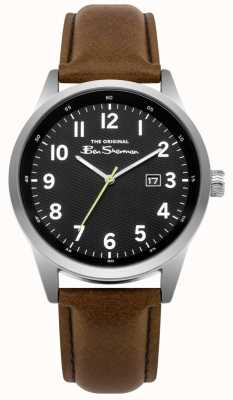 Ben Sherman Date Display Black Dial Stainless Steel Case tan Leather BS010BBR