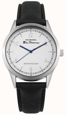 Ben Sherman White Dial Blue Hands Stainless Steel Case Black Leather BS012WB