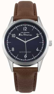 Ben Sherman Blue Dial Stainless Steel Silver Case Brown Leather Strap BS012UBR