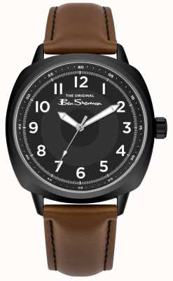 Ben Sherman Black Dial Stainless Steel Case Brown Leather Strap BS003BT