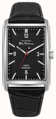 Ben Sherman Black Rectangular Dial Stainless Steel Case Black Leather BS013BB