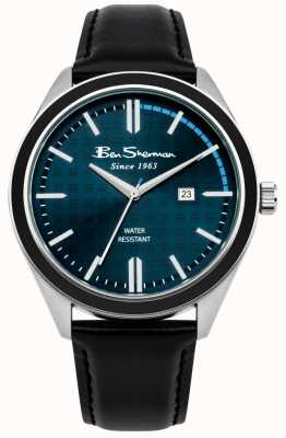 Ben Sherman Dark Blue Dial Date Display Black Leather Strap BS004UB