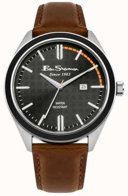 Ben Sherman Black Patterned Dial Date Display Tan Leather Strap BS004BT