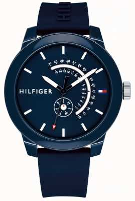 Tommy Hilfiger Blue Denim Day & Date Display Blue Rubber Strap 1791482