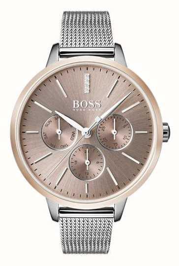c3a0f2329673c Hugo Boss Black Symphony Day   Date Display Rose Gold Case Mesh ...