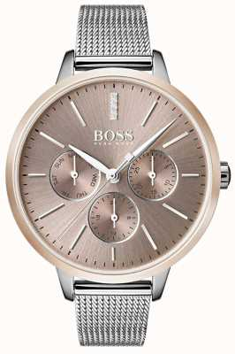 BOSS Black Symphony Day & Date Display Rose Gold Case Mesh Strap 1502423