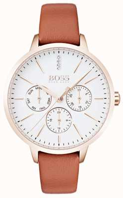 Hugo Boss White Dial Day & Date Display Rose Gold Case Tan Leather 1502420