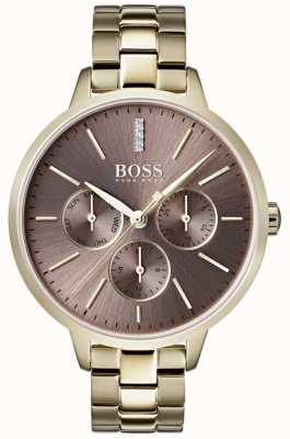 Hugo Boss Ladies Symphony Lilac Dial Day & Date Sub Dial Gold Case 1502422