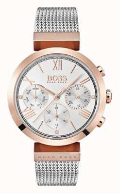 Hugo Boss Silver Dial Day & Date Display Roman Numerals Mesh Bracelet 1502427