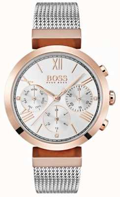 Boss Silver Dial Day & Date Display Roman Numerals Mesh Bracelet 1502427