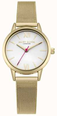 Daisy Dixon We Live Fashion White Dial Gold Mesh Strap DD069GM