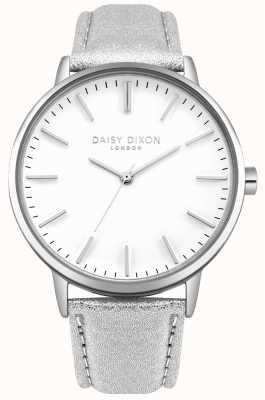 Daisy Dixon Ladies Harper White Dial Silver Case Silver Leather Strap DD061SS