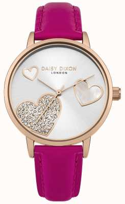 Daisy Dixon Ladies Hollie Rose Gold Case Crystal Set Hearts Silver Dial DD076PRG