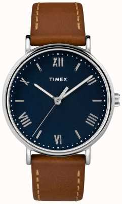 Timex Mens Southview 41mm Tan Leather Strap Blue Dial TW2R63900D7PF