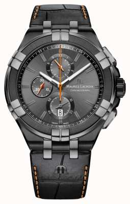 Maurice Lacroix Mens Aikon Chrono Date Anthracite PVD Case AI1018-PVB01-334-1
