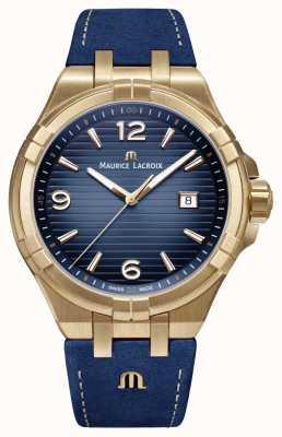 Maurice Lacroix Mens Aikon Limited Edition Bronze Case Blue Calf Strap AI1028-BRZ01-420-1