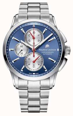 Maurice Lacroix Mens Pontos Chronograph Stainless Steel Blue Dial PT6388-SS002-430-1