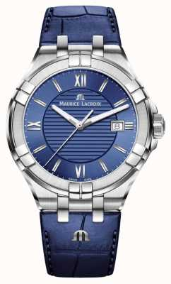 Maurice Lacroix Aikon 42mm Men's Blue Dial Blue Leather Strap AI1008-SS001-430-1