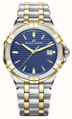Maurice Lacroix Mens Aikon Two Tone Stainless Steel Blue Dial AI1008-PVY13-433-1