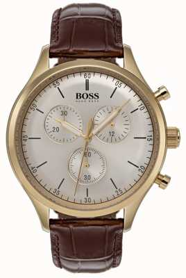Boss Mens Companion Chronograph Watch Brown Leather Strap 1513545