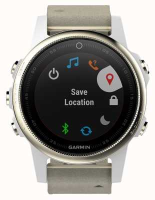 Garmin Fenix S5 Sapphire Gold Tone Grey Leather (spare white strap) 010-01685-13