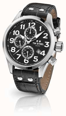 TW Steel Volante 48mm Chronograph Black Leather Strap VS54