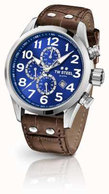 TW Steel Volante 45mm Chronograph Brown Leather Strap VS63