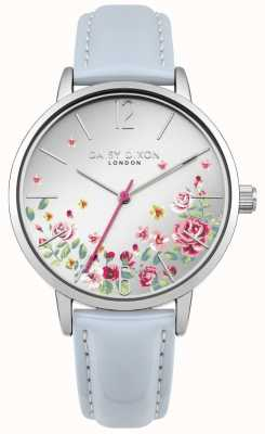 Daisy Dixon Womens Blue Leather Strap Silver Floral Dial DD073US