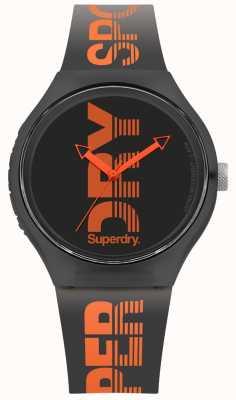 Superdry Urban Black Silicone Strap Black Dial SYG189BO